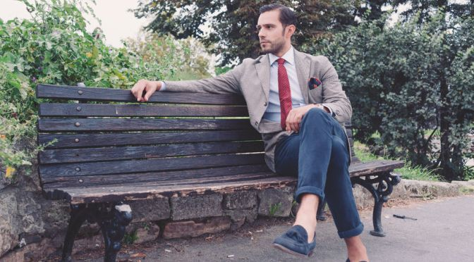 36070513 - handsome young  business man in the park after work, vintage style, retro filtered look