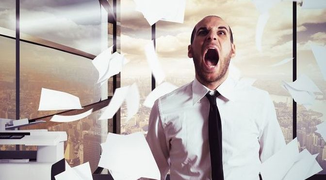 39808310 - businessman stressed and overworked yelling in office